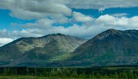 往山在森林上和树的看法在阿拉斯加团结了St 图库摄影