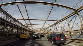 往曼哈顿Hyperlapse 4K的布鲁克林大桥 股票视频