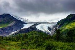 往沃辛顿冰川的看法在阿拉斯加阿梅尔美国  库存照片