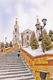 往阁下` s变貌寺庙的楼梯在维帖布斯克 库存图片