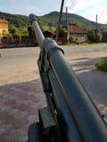 往青山,第二次世界大战,无名战士的纪念碑的卫兵的遗物的有天篷大炮下落 免版税库存照片