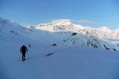 往Cevedale山顶的Skitourers 免版税图库摄影