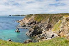 往Skomer海岛Pembrokeshire的威尔士沿海场面 库存照片