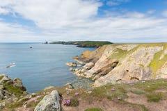 往Skomer海岛Pembrokeshire的威尔士沿海视图 免版税图库摄影