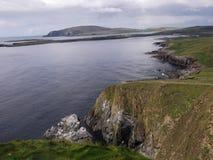 往Sumburgh头,设得兰群岛,苏格兰的一个看法 免版税库存照片