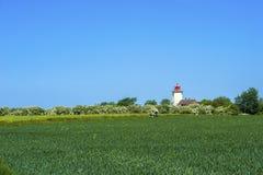 往Westermarkelsdorf灯塔的看法  免版税图库摄影