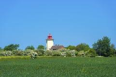 往Westermarkelsdorf灯塔的看法  免版税库存图片