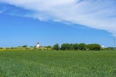 往Westermarkelsdorf灯塔的看法  库存图片