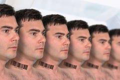 很多人连续有条形码的-基因克隆概念 免版税库存照片