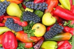 很多各种各样的果子,红色,黄色和青椒。 免版税库存图片
