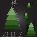 很多圣诞树在新年 免版税库存照片