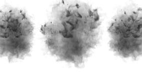 很多流程、乌云或者烟,墨水在慢动作的白色注射被隔绝 贷方在水中起泡 库存例证