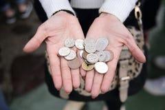 很多硬币,日本的货币 免版税库存照片