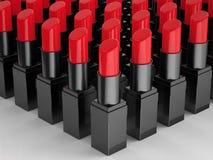 很多红色唇膏 皇族释放例证