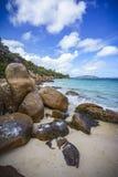 很多花岗岩在塞舌尔群岛32的海岸晃动 库存图片