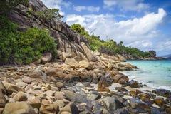 很多花岗岩在塞舌尔群岛111的海岸晃动 免版税库存照片