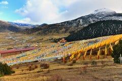 很多西藏人祷告下垂在山坡的飞行 图库摄影