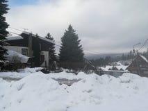 很多雪在什切尔克,波兰 免版税库存照片