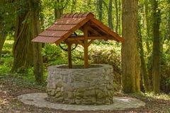 很好一块石头与在森林中间的一个屋顶 免版税库存图片