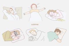 很好睡觉套手拉的人民 库存照片