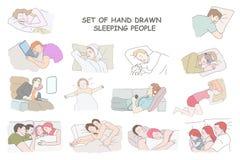 很好睡觉套手拉的人民 图库摄影