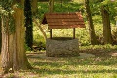 很好石头与在森林中间的一个屋顶 库存照片
