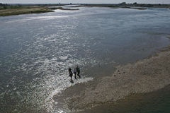 很少人在河Euphrate走在Raqqa附近在叙利亚 免版税图库摄影