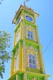 很快Oo Ponya申英澈塔尖沙咀钟楼,实皆,缅甸 免版税库存图片