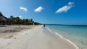 很远走在海滩 免版税库存照片
