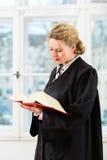 律师在有法律书籍读书的办公室由窗口 免版税库存照片