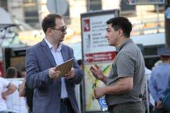 律师尼可拉Polozov和人权活动家谢尔盖Davidis 库存照片