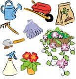 徒手画的园艺工具 免版税图库摄影