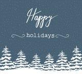 徒手画的在森林降雪的在上写字圣诞节传染媒介例证白色的冷杉木节日快乐 藏青色背景 新年度 库存例证