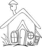 徒手画的被画的动画片房子 库存照片