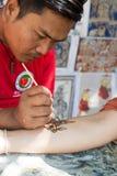 徒手画的绘画在Bagan 图库摄影
