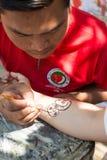 徒手画的绘画在Bagan 免版税库存照片
