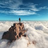 徒步旅行者人在山顶部 免版税库存图片