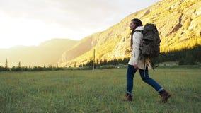 徒步旅行者走在绿色领域的背包徒步旅行者女孩 股票视频