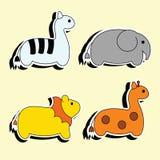 徒步旅行队动物动画片贴纸 库存照片