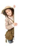 徒步旅行队服装的女孩 免版税库存照片