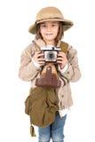 徒步旅行队服装的女孩 免版税库存图片