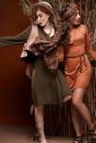 徒步旅行队的两个女孩在演播室称呼肉欲摆在 库存照片