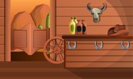 得克萨斯交谊厅概念横幅内部,动画片样式 皇族释放例证