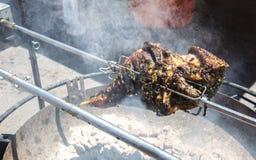 得克萨斯在火的样式烤肉 库存照片