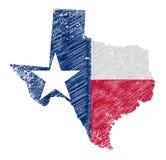 得克萨斯地图难看的东西和旗子 免版税库存图片