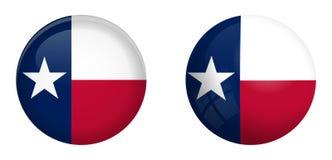 得克萨斯孤立星旗子在3d圆顶按钮下和在光滑的球形/球 皇族释放例证