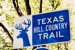 得克萨斯小山国家足迹的标志 库存图片