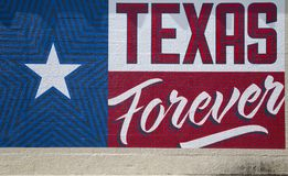得克萨斯州标志美国在墙壁打印 库存照片