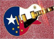 得克萨斯旗子吉他吉他 库存例证