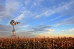 得克萨斯样式在日落的westernmill风车,阿根廷 免版税库存照片